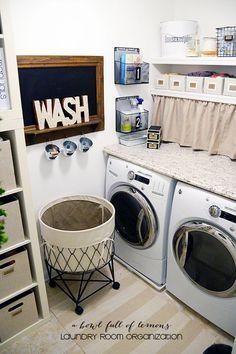 Laundry Room Organization via A Bowl Full of Lemons                                                                                                                                                                                 More Small Laundry Closet, Laundry Room Organization, Laundry Room Design, Laundry In Bathroom, Organization Ideas, Laundry Area, Laundry Bin, Laundry Decor, Laundry Baskets
