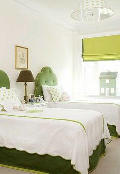 green and white kids bedroom