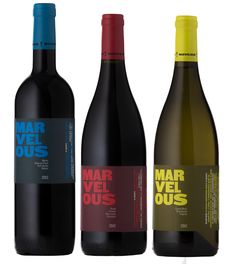 Winner of silver award for wines in a series Marvellous range: Yellow Red Blue 2012 Design firm: Fresh Identity Wine Ratings, Split Complementary, Wine Label Design, Plastic Design, Wine Packaging, Design Reference, Design Firms, Design Awards, De Stijl