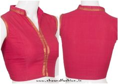 Simple blouse back neck designs for cotton sarees