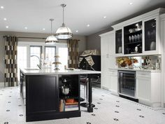 Great floor + use of dark + white cabinetry