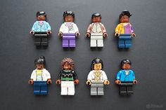Custom minifigures by the author, made from LEGO and off-brand parts, depict (clockwise from top left): nuclear physicist and educator Shirley Ann Jackson; chemical engineer Paula Hammond; STEM popularizer Neil deGrasse Tyson; biologist and blogger DNLee; STEM educator, entrepreneur, and former astronaut Mae Jemison; chemical engineer Sangeeta Bhatia; astrophysicist Jedidah Isler; and mechanical engineer David Sengeh. (Photo: Maia Weinstock)