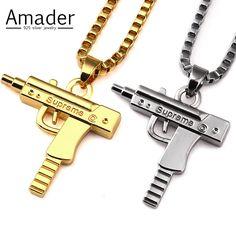Amader 2017 Hip Hop Jewelry Engraved Letter Gun Necklace 50cm Gold Plated Supreme Pendant Necklaces HipHop For Men Women Gift