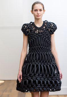 Sculptural Fashion - macrame dress; creative fashion design; wearable art // Noir Kei Ninomiya