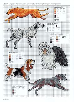 Needle-Works Butterfly: Dogs And Puppies Cross Stitch Patterns (English Setter)