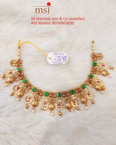 India Jewelry, Temple Jewellery, Gold Jewellery Design, Gold Jewelry, Gold Ruby Necklace, Latest Jewellery, Bridal Sets, Hyderabad, Necklace Designs