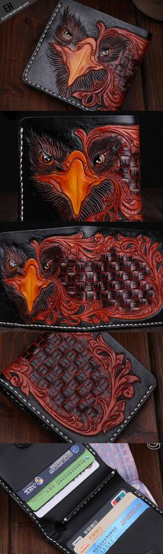 Handmade leather short wallet for men carved tooled wallet black eagle wallet