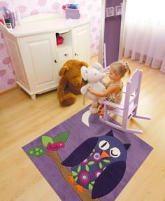 Sweet purple owl kids rug: Cuddly soft, stain resistant and allergy friendly. The children's handmade rug from Arte Espina has a special bonus: a movable beak of felt! Owl Rug, Owl Kids, Carpets For Kids, Childrens Rugs, Purple Owl, Kids Line, Tapis Design, Kids Bedroom Furniture, Bedroom Ideas