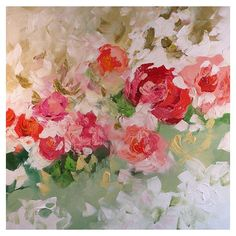 Floral Landscape SALE Original Painting Abstract or Impressionist Art... ❤ liked on Polyvore
