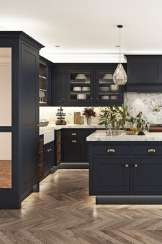 Open Plan Kitchen Dining Living, Small Cottage Kitchen, Home Decor Kitchen, New Kitchen, Home Kitchens, Blue Kitchen Interior, Kitchen Ideas, Kitchen Tiles Design, Kitchen Cabinet Design