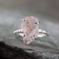 Morganite Ring - Raw Uncut Rough Morganite - via Etsy