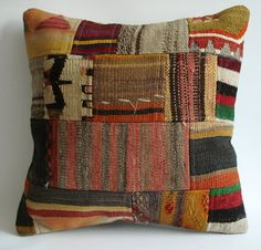 Turkish Patchwork Kilim Pillow Cover