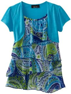 Amy Byer Girls 7-16 Print Chiffon Tier Bolero Twofer Blouse, Blue, Large. From #Amy Byer. List Price: $38.00. Price: $26.20