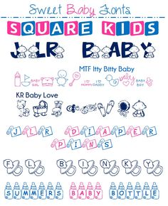 free sweet baby fonts that I just had to share with you.and yes, I said FREE! Aren't these fonts just so darn cute? They work great for cards, announcem Cute Fonts, Fancy Fonts, Typography Fonts, Lettering, Silhouette Fonts, Shower Bebe, Baby Shower Parties, Baby Showers, Free Baby Stuff