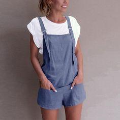 91ae6a9508c5 Casual Linen Cotton Jumpsuits Female Strapless Pockets Short Wide Leg  Trouser Womens Summer Fashion Beach Cami Clothing 2018