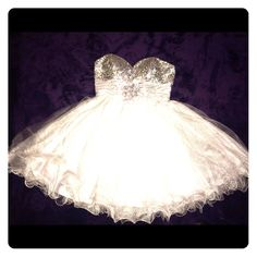 Silver homecoming dress in good condition no stains or holes and only worn once very sparkly with a big flower in the center super pretty for any big event not just homecoming  Let's Dresses