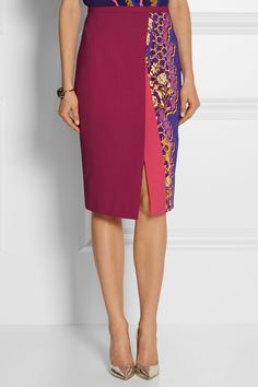 Peter Pilotto;  Ria pink printed stretch-cady pencil skirt; office / work attire