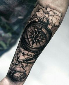 Compass Arm Tattoo - Best Compass Tattoos For Men: Cool Compass Tattoo Designs and Ideas For Guys Tattoo Homme, Best Compass, Compass Rose, Map Compass, Tattoo Muster, Shoulder Tats, Compass Tattoo Design, Mens Compass Tattoo, Compass Tattoo Forearm