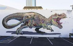 Nychos: Artista australiano cria fantásticos grafites mostrando detalhes da anatomia de animais - Follow the Colours
