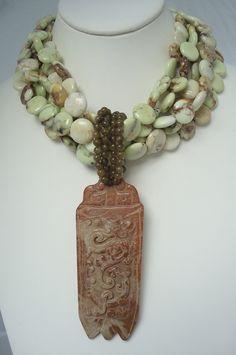 Lemon Chrysoprase, Carved Jade. Pendant is removable.