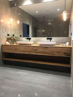 Bathroom - This gorgeous custom floating timber vanity made from solid recycled Messmate timber feautres Omvivo's Venice 700 basins The organic design of the solid surface basins work beautifully with the recyc Ensuite Bathrooms, Bathroom Renos, Small Bathroom, Bathroom Ideas, Modern Master Bathroom, Light Bathroom, Remodel Bathroom, Minimalist Bathroom, Bathroom Inspo