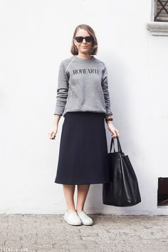 Discover this look wearing Navy COS Skirts, Black Celine Bags, Black Ray Ban Sunglasses - Navy midi skirt by toutlamode styled for Classic, Everyday in the Spring Modest Outfits, Skirt Outfits, Trendy Outfits, Arab Fashion, Mod Fashion, Sporty Fashion, Fashion Women, Middle Eastern Fashion, Skirt And Sneakers