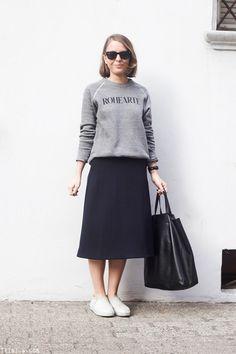 Trini | Rodarte sweatshirt - COS navy midi skirt - Rag & Bone slip on sneakers - Céline bag