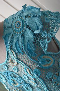 Вязаное платье «Голубая бездна». Юлия Суворова. Bязание в технике ирландского…