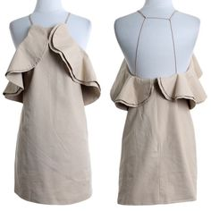 🆕The LILIT flutter open back dress - TAUPE Linen Casual Dress. Can also be worn as a top. Super unique. I've never seen such a simple yet striking dress. Pics do not do this dress justice. AVAILABLE IN BLACK & TAUPE. 60% Linen, 40% Cotton Lining 100% Polyester Made in USA. 🚨NO TRADE🚨 Bellanblue Dresses Backless