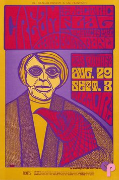 psychedelic-sixties: Cream/Electric Flag/Gary Burton/Dan Bruhns' Fillmore Lights, August 1967 - Sep Fillmore Auditorium (San Francisco, CA). Art by Jim Blashfield Tour Posters, Band Posters, Jimi Hendrix, Psychedelic Music, Psychedelic Posters, Wes Wilson, Fillmore Auditorium, Beatles, Pop Art