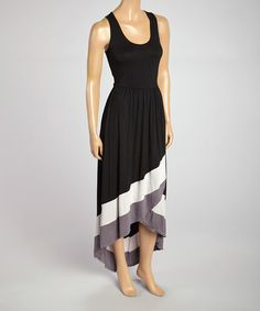Take a look at the Rain Black & Gray Scoop Neck Maxi Dress on #zulily today!