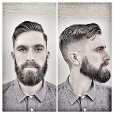 "vintagebarbershop: "" imonkeyaround: "" Zero fade, loose Ivy League on my boy Styled with Imperial Matte Pomade Paste Great Beards, Awesome Beards, Hipster Hairstyles, Cool Hairstyles, Men's Hairstyles, Hairy Men, Bearded Men, Sexy Bart, Hair And Beard Styles"