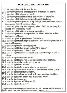 "yourpersonalcheerleader: "" Personal Bill of Rights. """