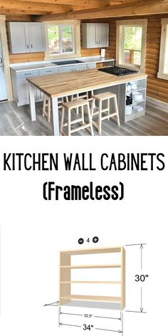 """Needed 34"""" wide cabinets (non standard width) to fit on either side of the window at our cabin, so decided to build my own. #anawhite #anawhiteplans #shelfhelp #diy #kitchen #kitchencabinets Upcycled Home Decor, Wood Home Decor, Diy Home Decor, Budget Kitchen Remodel, Kitchen On A Budget, Kitchen Ideas, Diy Furniture Plans, Handmade Furniture, Furniture Projects"""