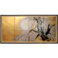"""Hang this lovely silk, gold leaf four-panel wall screen in a special place in your home. The piece is distinct and beautifully handcrafted by artisans in mainland China, and depicts a natural scene featuring plum and cherry blossoms. 72"""""""