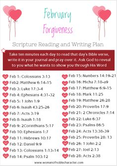 February Scripture reading and writing plan.  Focus on forgiveness #forgiveness #scripture #scripturewritingplan #Biblereadingplan #bibleverses #bible