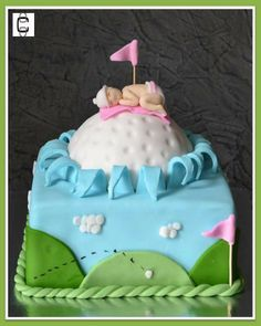 BABY SHOWER GOLF THEMED CAKE except all blue