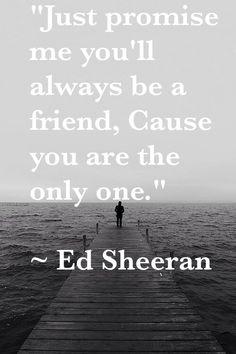 apenas prometo me que você sempre será um amigo porque você é o único