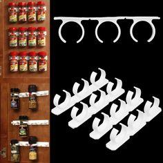 $4.69 AUD - 4X Home Kitchen Use Clip Spice Gripper Jar Rack Storage Holder Wall Cabinet Door #ebay #Home & Garden
