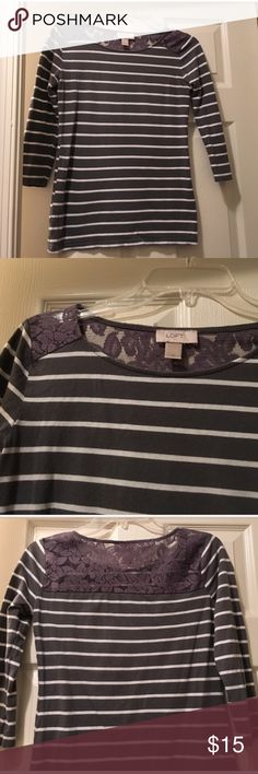 """Gray and white stripe 3/4 sleeve with lace back Pretty floral lace in back section! Soft comfy material! EUC! 100% cotton! 22"""" long and 16.5"""" across. LOFT Tops"""