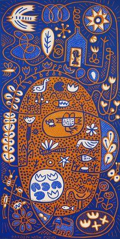 Garden with Pond - Hilke MacIntyre original linocut, edition of 35 Motifs Textiles, Guache, Aboriginal Art, Woodblock Print, Graphic Illustration, Printmaking, Illustrators, Folk Art, Art Drawings