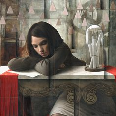 Paintings by Italian artist Sergio Cerchi. #art #painting #female #texture #melancholy