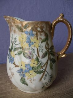 antique French pitcher Limoges France hand by ShoponSherman, $125.00