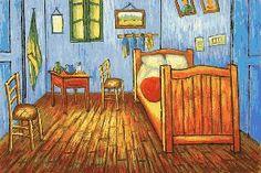 gráfico de punto de cruz para descargar en pdf, imprimir y bordar cuadro de Van Gogh el dormitorio en Arlés
