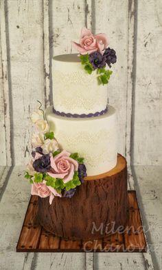 Woodland Flower Wedding Cake by MilenaChanova - http://cakesdecor.com/cakes/268509-woodland-flower-wedding-cake