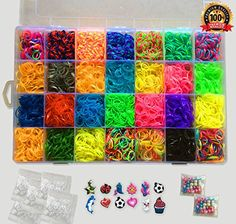 Kiserena Loom Refill Kit - Includes 7000 Bands in 28 Colors: Multicolor Glow in the Dark, Metallic, Neon, Tie Dye, Jelly, Dotted, Glitter | Plus 350 S Clips, 12 Charms, 100 Beads & 1 Organizer Case http://www.amazon.com/Kiserena-Loom-Refill-Kit-Multicolor/dp/B015PADU60/ref=sr_1_37?ie=UTF8&qid=1459298491&sr=8-37&keywords=loom+kit