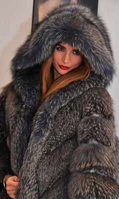 Graphite Royal Saga FOX FUR Poncho Hood Like Sable Mink Lynx Silver Chinchilla | eBay