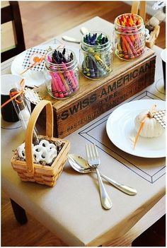 Kids holiday table idea. So doing this when we host this year!