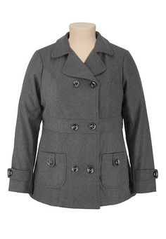 Double Breasted Charcoal Pea Coat (original price, $79) available at #Maurices