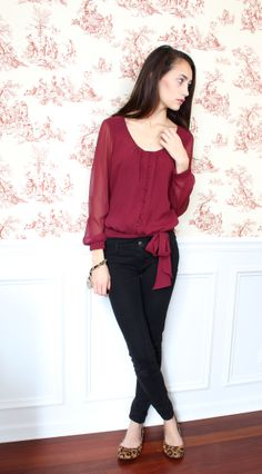 maroon chiffon bow blouse, ae jeggings, cheetah flats, winter outfit 2014